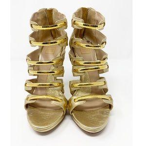 Herve Leger Shimmering Gold Sandal
